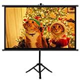 FMOGE Projector Screen with Tripod Stand, 60 Inch HD Foldable Portable Projection Movie Screen Cloth, for Outdoor Indoor Home Theater Backyard