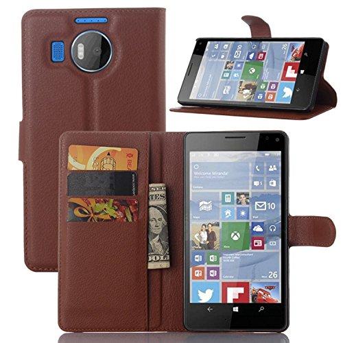 Ycloud Tasche für Nokia Microsoft Lumia 950 XL Hülle, PU Ledertasche Flip Cover Wallet Hülle Handyhülle mit Stand Function Credit Card Slots Bookstyle Purse Design braun
