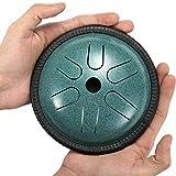 AEUWIER Tambor de lengua de acero - Tambor de mano de instrumento de percusión de 5,5 pulgadas con 6 melodías, tambor de mano de borde negro con bolsa de transporte para baquetas