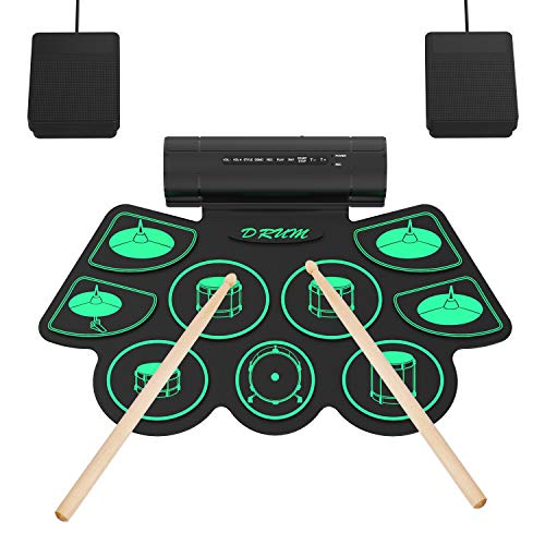 Batteria Elettronica Drum Set, 9 Padiglioni Batteria Elettrica, Altoparlante Integrato, Bacchette in Legno e Pedali, Roll Up Tamburo per Bambini, Adulti, Natale, Compleanno Warmfunn
