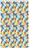 ABAKUHAUS Geométrico Cortina para baño, Forma Circular Bauhaus, Tela con Estampa Digital Set con Ganchos incluídos, 120 x 180 cm, Multicolor