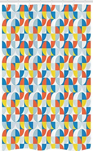 ABAKUHAUS Geométrico Cortina para baño, Forma Circular Bauhaus, Tela con Estampa Digital Apta Lavadora Incluye Ganchos, 120 x 180 cm, Multicolor