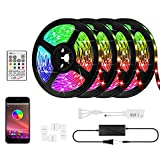66ft RGB LED Strip Lights Kit, 20M 600 LEDs 5050 RGB LED Light Strip, LED Tape Lights with Remote APP Control Sync to Music, Bluetooth Controller, Remote LED Lights for Bedroom Home Party(4x16.4FT)