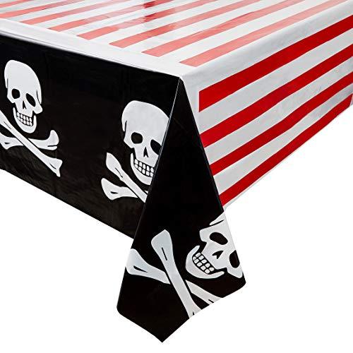 Juvale 3er-Pack Kunststoff-Tischdecken mit Piraten-Totenkopf und gekreuzten Knochen, Tischdecken für Kindergeburtstage, Partyzubehör und Dekorationen, 137,2 x 274,3 cm