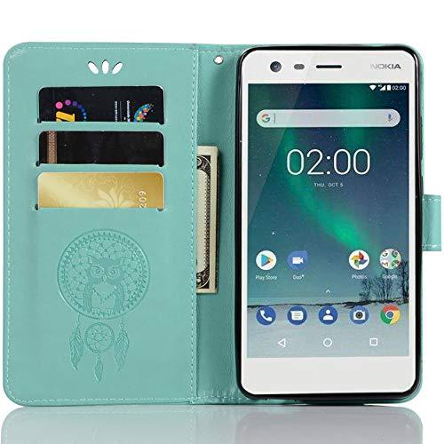 SCIMIN Nokia 2.1 Klapphülle, Nokia 2.1 Brieftaschenhülle, Nokia 2.1 Lederhülle, PU Leder geprägte Blumen Flip Hülle mit Kartenfach für 14,9 cm Nokia 2.1