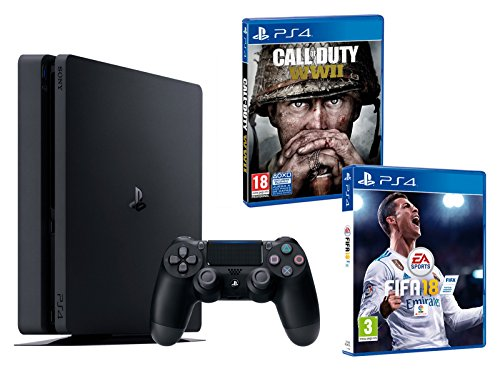 PS4 Slim 500 GB nero Playstation 4 Console - Pack 2 Giochi: FIFA 18 + Call of Duty WW2