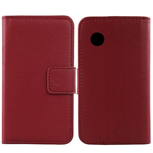 Gukas Design Echt Leder Tasche Für Wiko Ozzy Hülle Handy Flip Brieftasche mit Kartenfächer Schutz Protektiv Genuine Premium Hülle Cover Etui Skin Shell (Dark Rot)