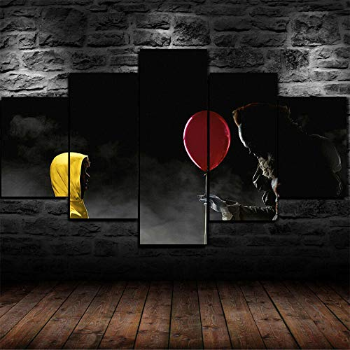GIRDSSA Prints On Canvas ArtworkPennywise Clown IT Horror Scary Movie 5 Piece Hd Wallpapers Art Canvas Print Modern Poster Modular Art Painting Living Room Home Decor