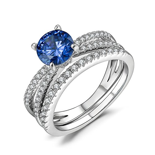 Caperci Sterling Silver Cubic Zirconia Wedding Band and Tanzanite Engagement Ring Bridal Set Size 8 for Women