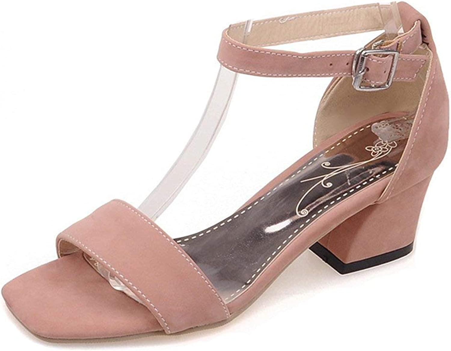 Unm Women's Mid Heel Sandals with Ankle Strap - Simple Chunky Buckled - Open Toe Party Wedding