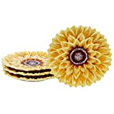 Certified International Sunset Sunflower 8.25' 3-D Dessert Plate, Set of 4,One Size, Multicolored