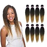Pre-stretched Braiding Hair Natural Black Blonde Crochet Braids Hair 20 Inch 8 Packs Hot Water Setting Perm Yaki Synthetic Braiding Hair Extension for Twist Braids (#1B/27)