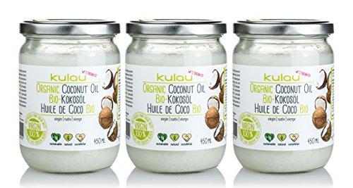 3x KULAU Bio-Kokosöl RAW 450 ml Sparpaket