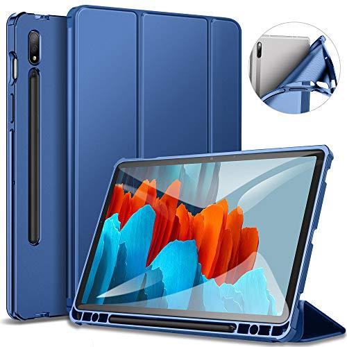 ZtotopCase Funda para Samsung Galaxy Tab S7, Estuche liviano de Tres Pliegues con portalápices, Carcasa Trasera Suave de TPU con Reposo/Despertar Auto para Galaxy Tab S7 11'(SM-T870/SM-T875),Azul