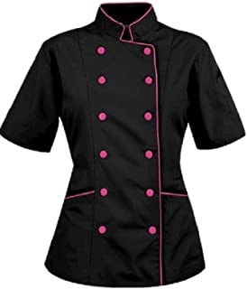 Short Sleeves Women's Ladies Chef's Coat Jackets (XL (for Bust 40-41), Black (Pink Trim))