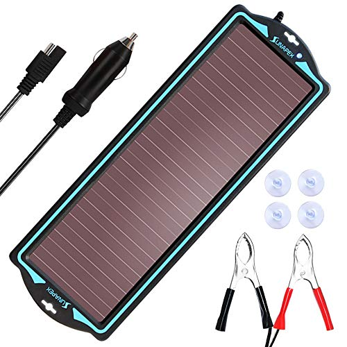 SUNAPEX 12V Solar trickle Charger,Battery Charger,Battery maintainer Portable Power Solar Panel Suitable for Car, Motorcycle, Boat, ATV,Marine, RV, Trailer, Snowmobile, etc.
