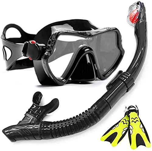 AACXRCR Máscaras de buceo Máscara de snorkel Mascarilla Profesional Anti-niebla de buceo Gafas Gafas de gafas Máscara + tubo de aliento fácil Snorkels + aletas Set para buceo, natación, snorkeling y o