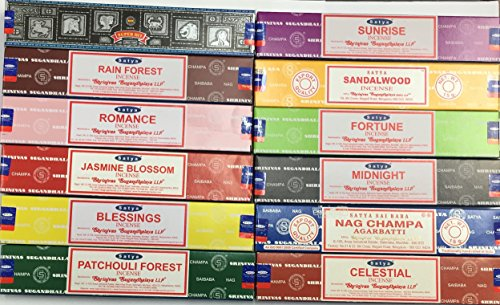 Genuine SATYA SAI BABA - NAG CHAMPA VARIETY MIX 12 X 15G BOXES OF INCENSE, IN.