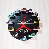 """QHTC Reloj De Pared Jordan De 12"""",Reloj De Mini Zapatillas 3D con 1 A 12 Mini Zapatillas, Decoración del Hogar para Fanáticos De Los Deportes,Negro,2"""