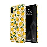BURGA Hülle Kompatibel mit iPhone X/XS - Handy Huelle Yellow Lemon Zitrone Zitrusfrüchte Citrus Exotisch Tropisch Geld Sommer Dünn Robuste Rückschale aus Kunststoff Handyhülle Schutz Hülle Cover