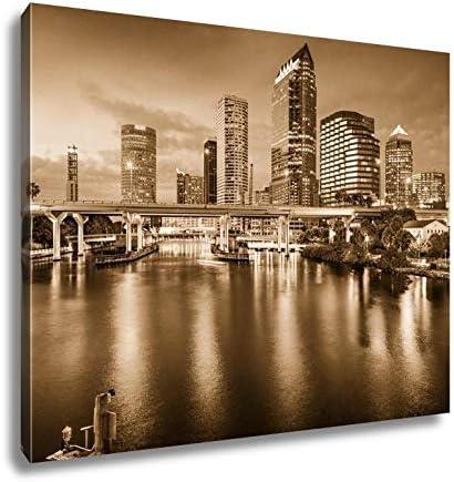 Amazon Com Ashley Canvas Tampa Florida Skyline Kitchen Bedroom Living Room Art Black White 24x30 Ag5918650 Posters Prints