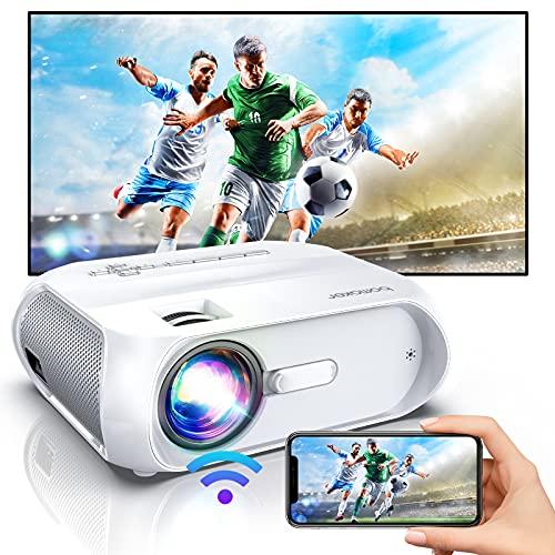 BOMAKER WiFi Beamer Full HD, Mini Beamer Smartphone Native 720P unterstützt 1080P, 6500 Tragbarer Beamer Heimkino 70.000 Stunden kompatibel mit TV Stick, PS4, PC, Smartphone, Laptop