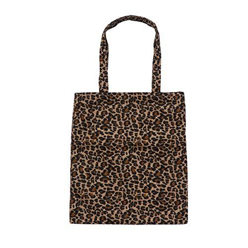 TENDYCOCO - Bolso de tela grande con estampado de leopardo para mujer