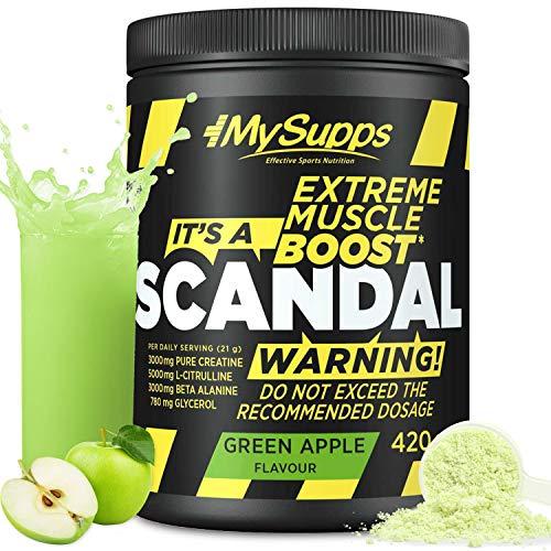 My Supps Scandal - Pre Workout Booster – dein hochdosierter Workout-Booster für jeden Tag – mit dem extra an Citrullin, Koffein & Kreatin, Made in Germany– 420g (Green Apple)