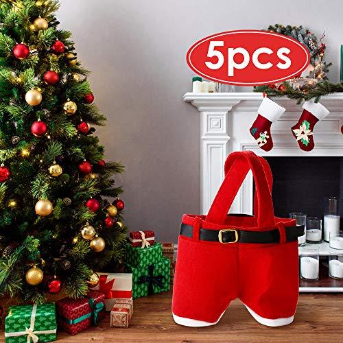 Mbuynow Bolsa de Caramelo de la Navidad/Bolsa de Regalo de Pantalones de Santa para Chocolates, Dulces y Otros Pequenos Regalos, Diseno de Papa Noel, Color Rojo - 5 Piezas