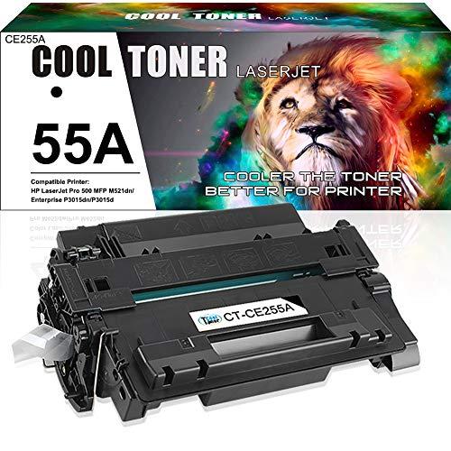 Cool Toner Compatible Toner Cartridge Replacement for HP 55A CE255A 55X CE255X HP P3015 Toner Laserjet Pro 500 MFP M521dn P3015dn P3015x M525f M525dn P3011 M521 M525 Printer Toner Ink (Black 1Pack)