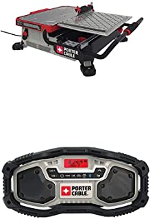 PORTER-CABLE PCE980 7 in. Table Top Wet Tile Saw with PORTER-CABLE PCC771B Bluetooth Radio