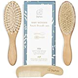 Wooden Baby Hair Brush and Comb Set for Newborns and Toddlers Girl ; Boy ; Natural Soft Goat Bristles Hairbrush Ideal for Cradle Cap ; Wood Bristles Baby Brush ; Perfect Baby Shower and Registry Gift