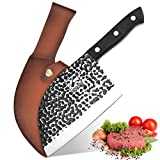 Damascus Butcher Knife, imarku Handmade Serbian Chef Knife Full Tang Forged kitchen Cleaver Knife High Carbon Clad Steel Meat Cleaver with Leather Knife Sheath - 7 inches…