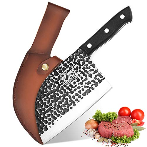 Butcher Knife, imarku Handmade Serbian Chef Knife Full Tang Forged kitchen Cleaver Knife High Carbon Clad Steel Meat Cleaver with Leather Knife Sheath - 7 inches