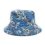 BOIPEEI Cappello da Pescatore Unisex con Stampa a Onde Originale Panama Cappello da Pescatore da Donna in Cotone Primavera da Esterno