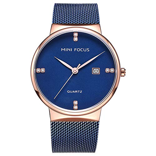 JTTM Hombre De Ultrafino Impermeable Acero Inoxidable Malla Reloj Moda Simple Multifunción Calendario Negocios Analógico Cuarzo Relojes,Rose Blue
