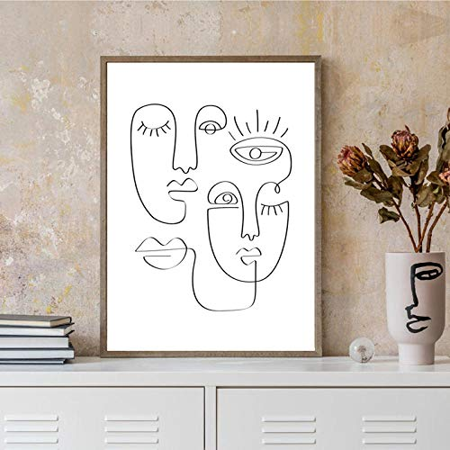 IGNIUBI Abstract Face One Line Drawing by Picasso Art Prints Black White Minimal Continuous Canvas Painting Nordic Poster Bedroom Decor 50X70cm No Frame