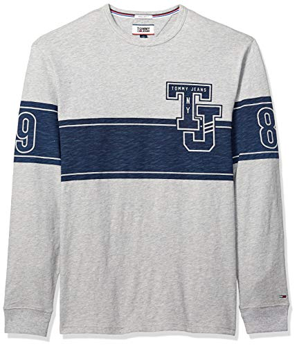 Tommy Jeans Men's Long Sleeve T-Shirt, Light Grey Heather Graphic, Small