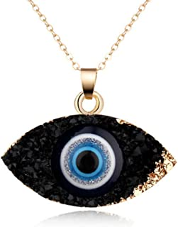 BGTKD Necklace Natural Stone Evil Eyes Pendant Necklace Crystal Eye Necklaces Women