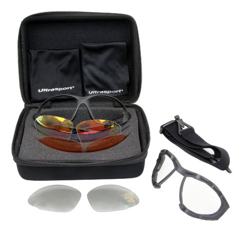 Ultrasport Multifunktions-Sportbrille inkl. 3 Paar Wechselgläser mit Anti-Fog, Anti-Scratch, Set inkl. Bügel, Kopfband, Koffer, Mikrofasertasche, Tuch