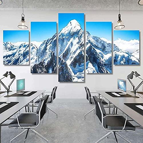 VYQDTNR Cuadros Modernos Impresión de Imagen Artística Digitalizada   Lienzo Decorativo para Tu Salón o Dormitorio   Mountain Peak Everest Nepal   5 Piezas 150x80cm