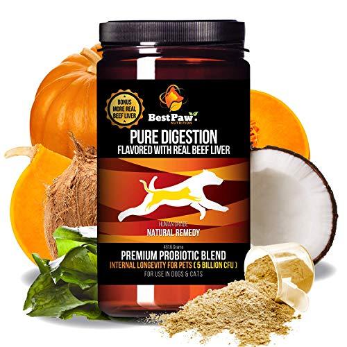 Best Paw Nutrition Dog & Cat Premium Probiotic Prebiotic & Digestive Enzymes 5 Billion CFU Organic Turmeric Coconut Oil Pure Pumpkin & Kelp for Healthy Bowels Gut & UTIs