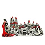 Hqiyaols Souvenir Chica Flamenco Sagrada Familia Barcelona España Refrigerador 3D Imán de Nevera Viaje Ciudad Recuerdo Colección Decoración Tablero Blanco Etiqueta Resina