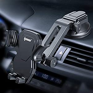 Auto Retractable Phone Clamp: Hands-free and super stable. No switch, no magnet, only smart mechanism. Simply put in/take out your phone in just one second. No complicated operation, most safe car phone mount for driving. Maximum Angle Adjusting: Thi...