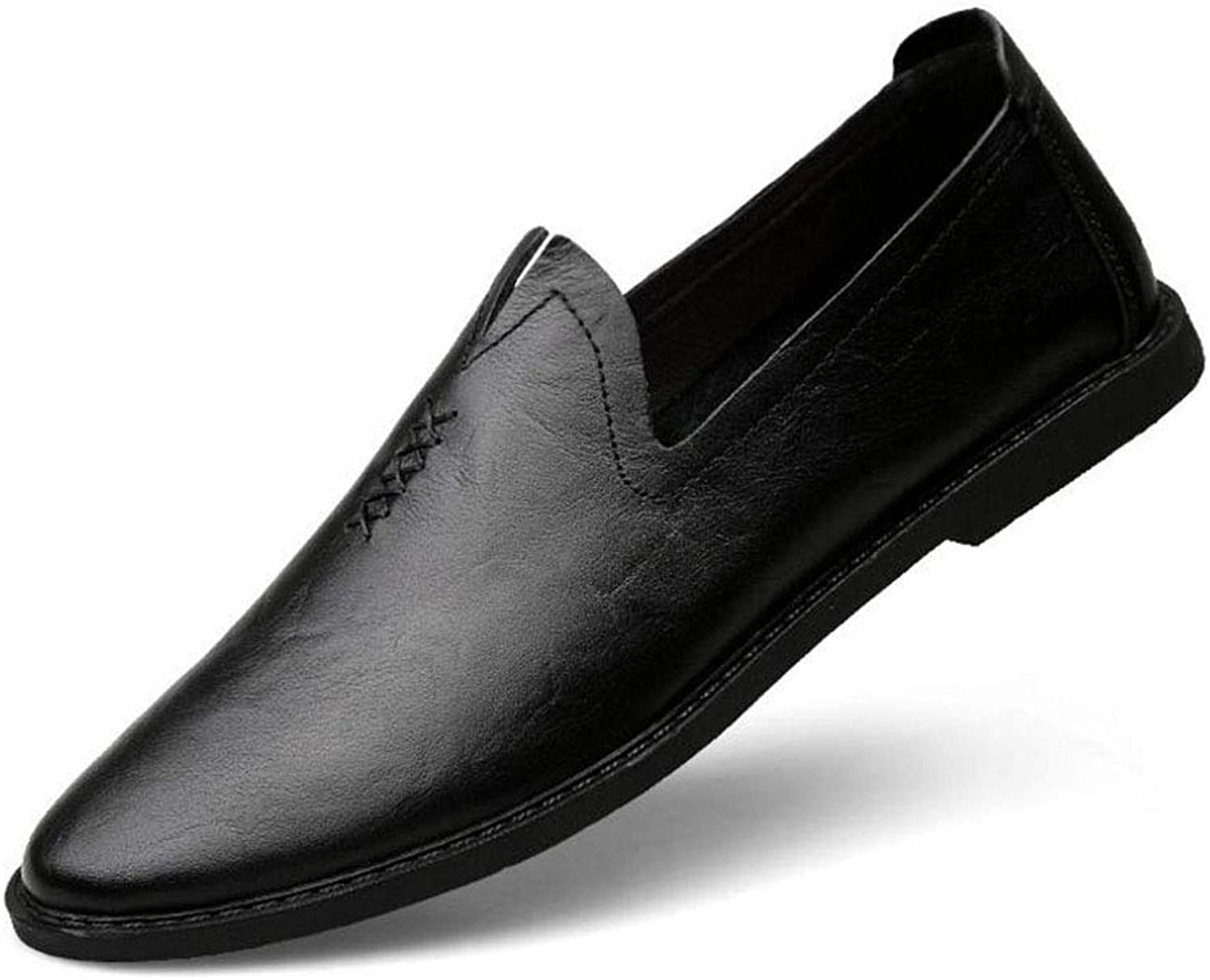 MUMUWU Formal Mens Business Oxfords PU Leather Block Heel Soft Sole Flats Breathable