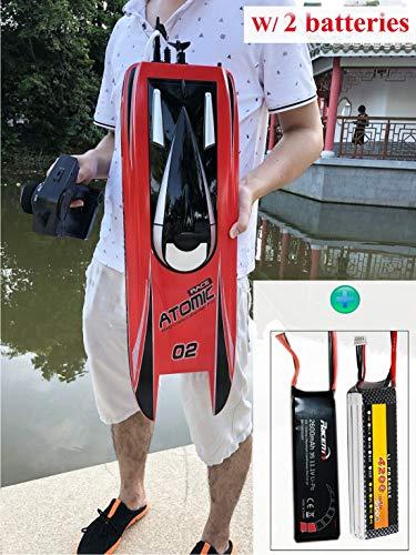 SOWOFA S011 27,5 Zoll Fernbedienung Boot Schnellboot für Hobby Erwachsene Jungen Racing RC Boot 65 km / h (40,38 mph) Brushless Motor mit 2 Lipo-Batterien, 4200 mAh & 2600 mAh