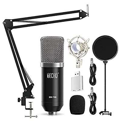 TONOR Condenser PC Microphone XLR to 3.5mm with Boom Scissor Arm Stand with Shock Mount for Podcasting Studio Recording Chatting Black