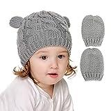 Baby Beanie Baby Winter Hat and Mitten Set Newborn Beanies Infant Knit Hats for Boys Girls Baby Mittens Grey 0-3 Months