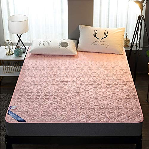 ABUKJM Bandage Waterproof Mattress Cover,Mattress Protector for Bedroom Solid Color Breathable,Anti-bed Bugs Anti-mite Bed Sheet (Pink,150x190cm)