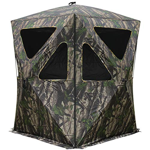 MASTERCANOPY Portable 2-4 Person Ground Hunting Blind, Oxford Fabric Hunting Blinds (Camouflage)